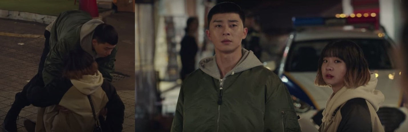 ic: Park Seo Jun as Park Saeyori sporting a L-2B bomber jacket and Yeezy Boosts combat boots. Featured in Itaewon Class.