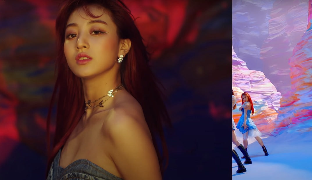 """ic: Jihyo wears an Unravel Project denim dress. Featured in TWICE's """"I Can't Stop Me"""" music video."""
