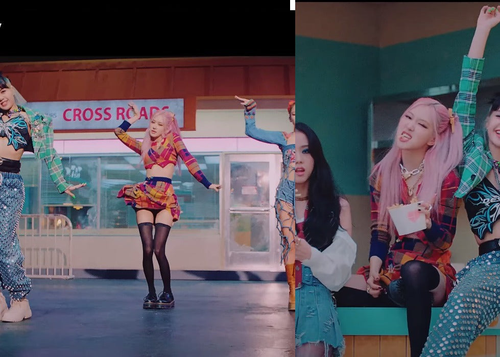 """ic: Rosé in a Vivienne Westwood cardigan and skirt and Dr.Martens platform shoes. Featured in Blackpink's """"Lovesick Girls"""" Music Video."""