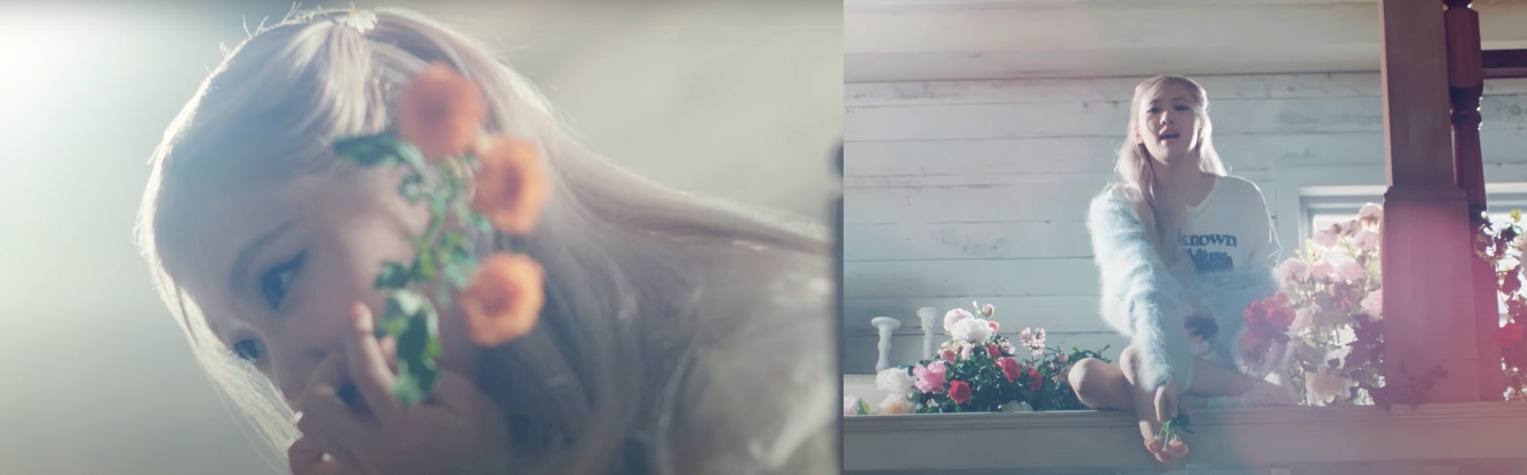 """ic: Rosé in a fuzzy blue sweater. Featured in Rosé's music video, """"On The Ground."""""""