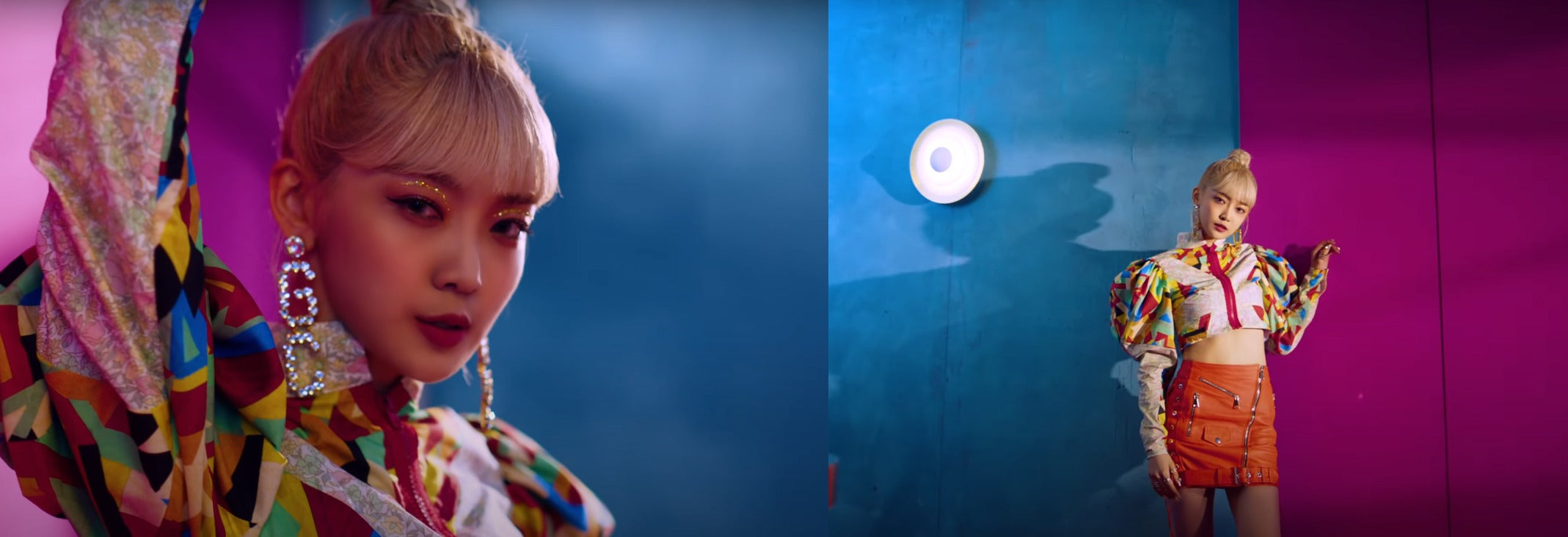 """ic: Onda rocks a Matty Bovan blouse and skirt from Manokhi.  Featured in EVERGLOW's """"LA DI DA"""" Music Video."""