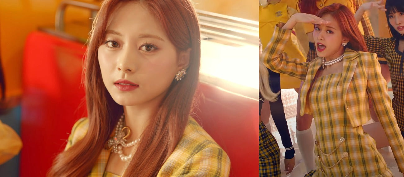 """ic: Tzuyu sports a yellow dress set. Featured in TWICE's """"I Can't Stop Me"""" music video."""