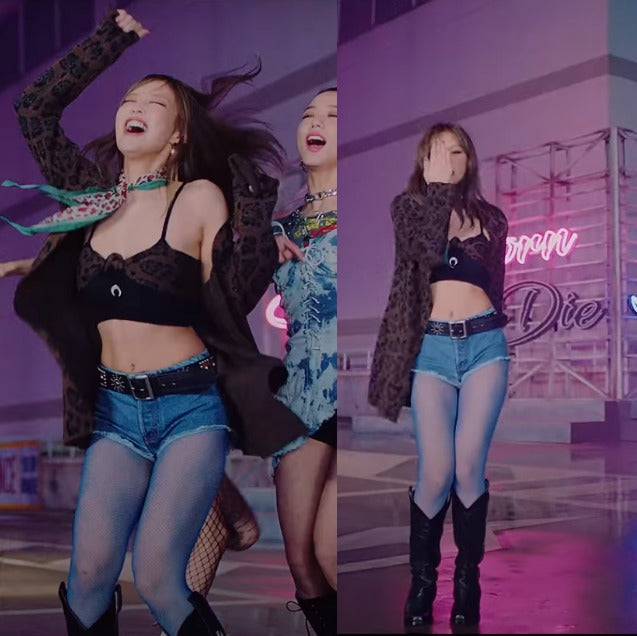 """ic: Jennie in a SANTUARY cardigan, Marine Serre bra top, and BADBLOOD cowboy boots. Featured in Blackpink's """"Lovesick Girls"""" Music Video."""