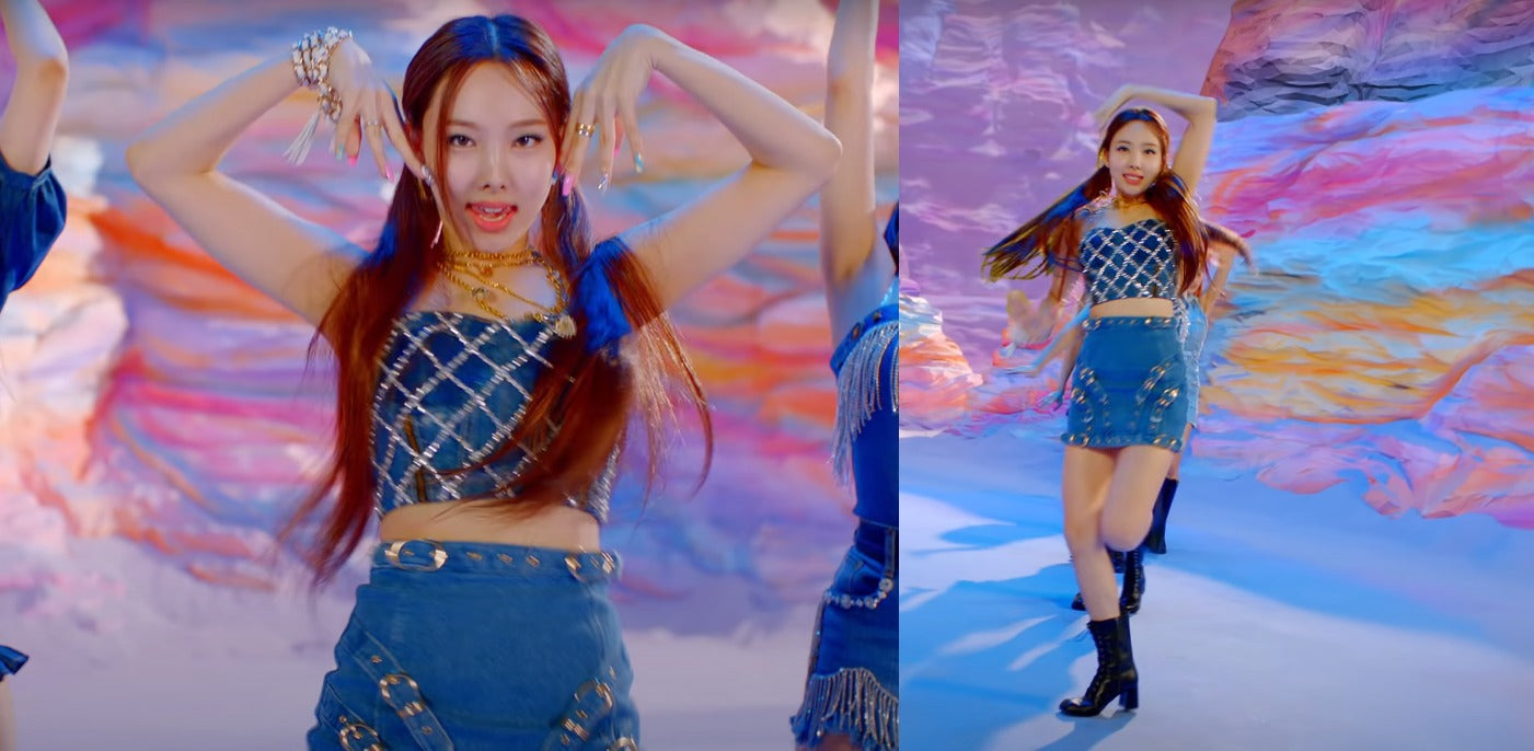 """ic: Nayeon wears a denim two-piece. Featured in TWICE's """"I Can't Stop Me"""" music video."""
