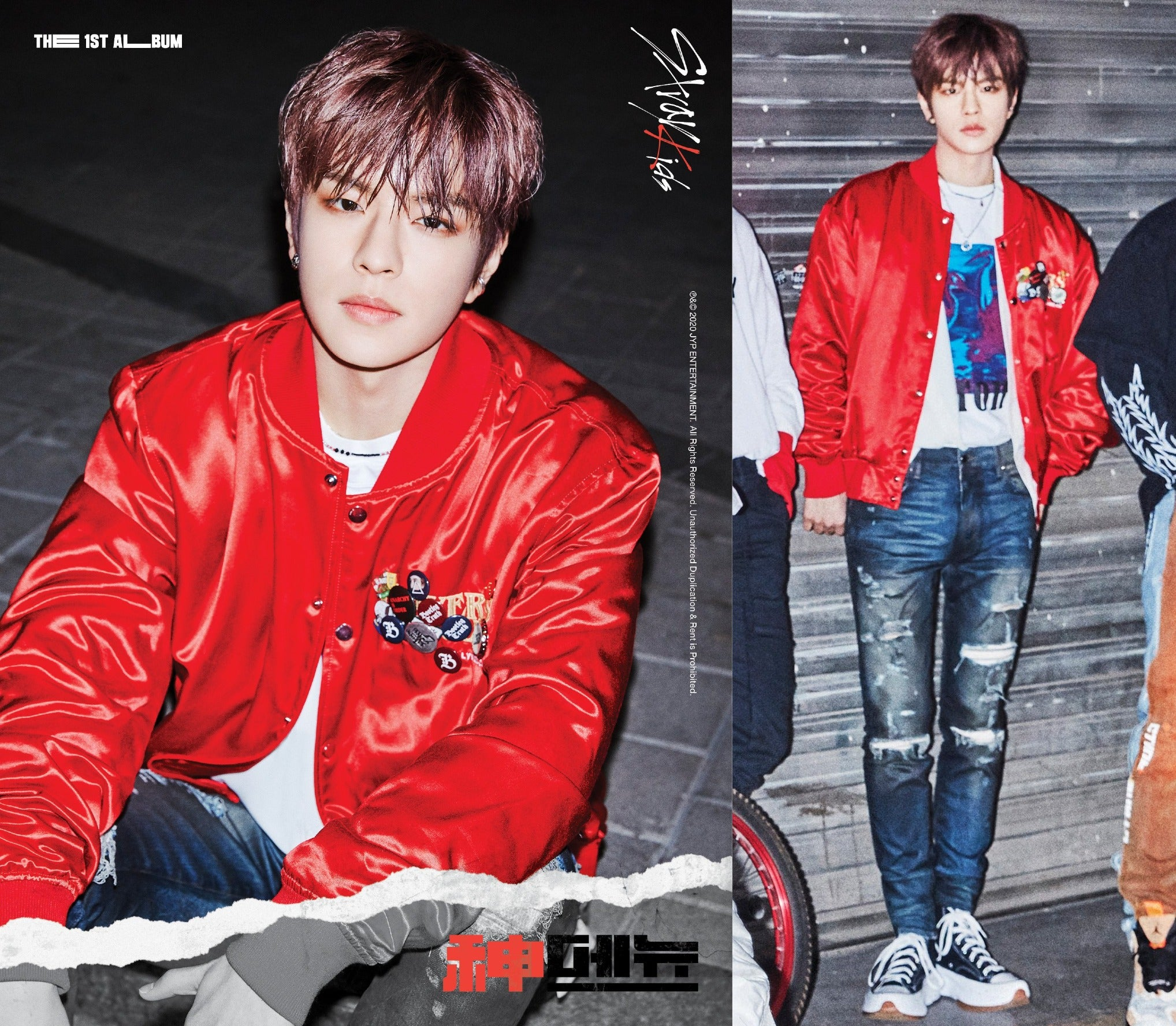 """ic: Seungmin wears an AMIRI satin bomber jacket. Featured in Stray Kids' """"God's Menu"""" music video."""