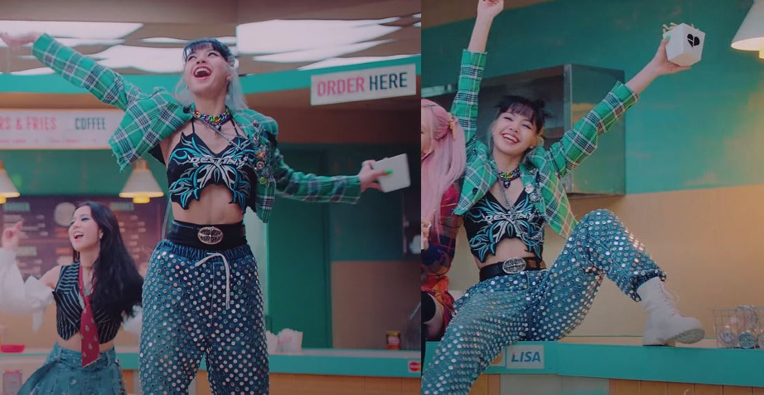 """ic: Lisa dazzles in sequined pants and a butterfly crop top from Namilia. Featured in Black Pink's """"Love Sick Girls"""" Music Video."""
