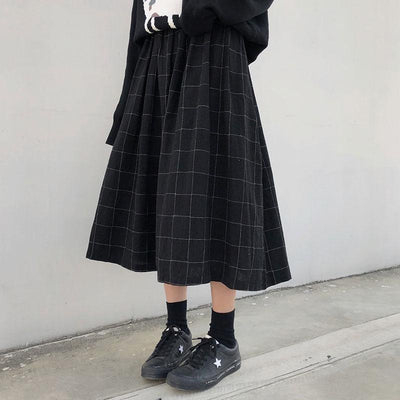 Baggy Plaid Midi Skirt