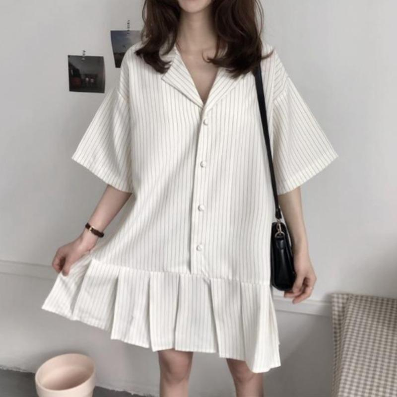 Baggy Striped Short Sleeve Dress - nightcity clothing