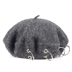 Beret Hat with Rings - nightcity clothing