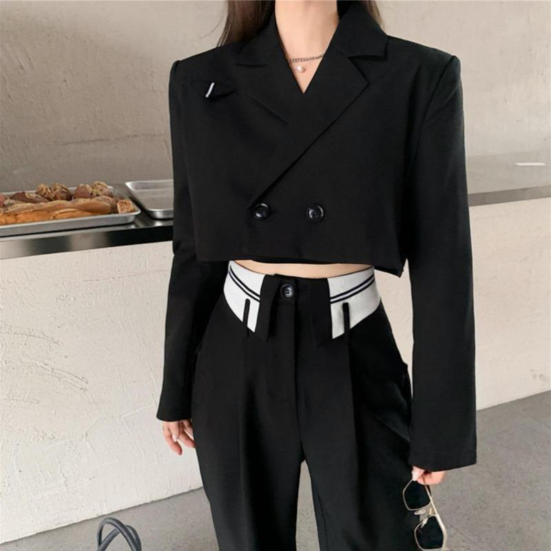 Boxy Cropped Blazer and Color Block Pants Two-Piece Set - nightcity clothing