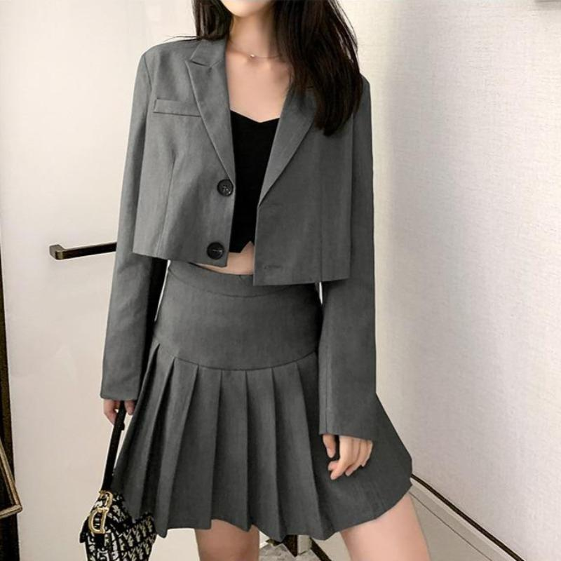 Cropped Blazer and Pleated Mini Skirt Two-Piece Set - nightcity clothing