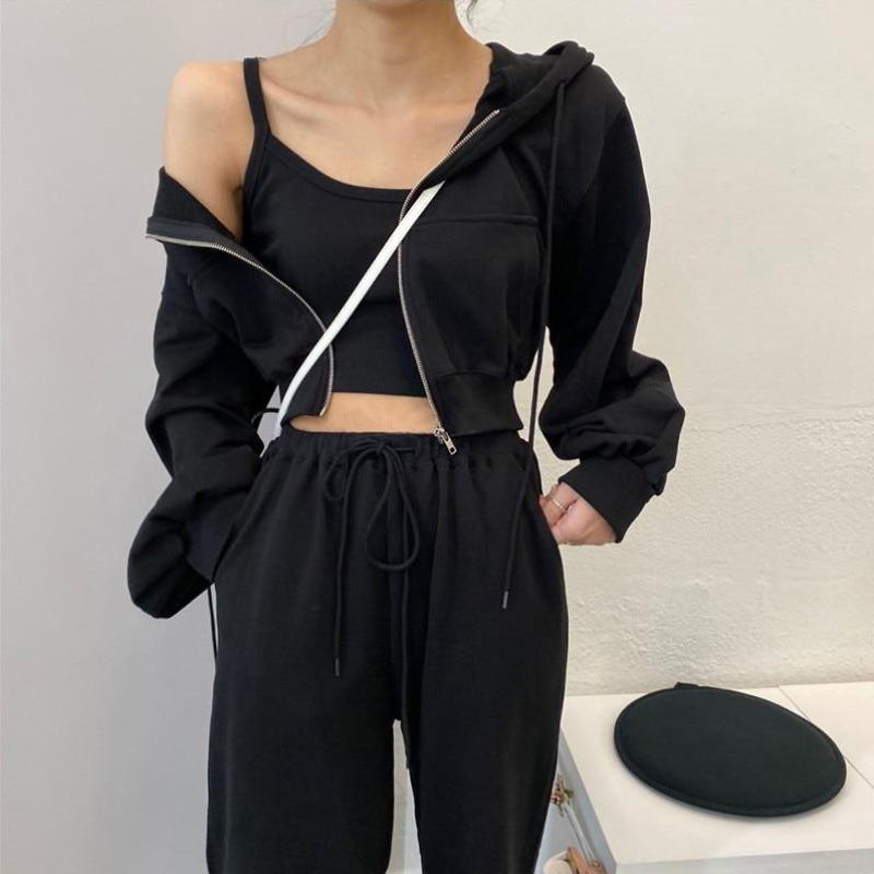 Cropped Track Hoodie and Joggers Two-Piece Set - nightcity clothing
