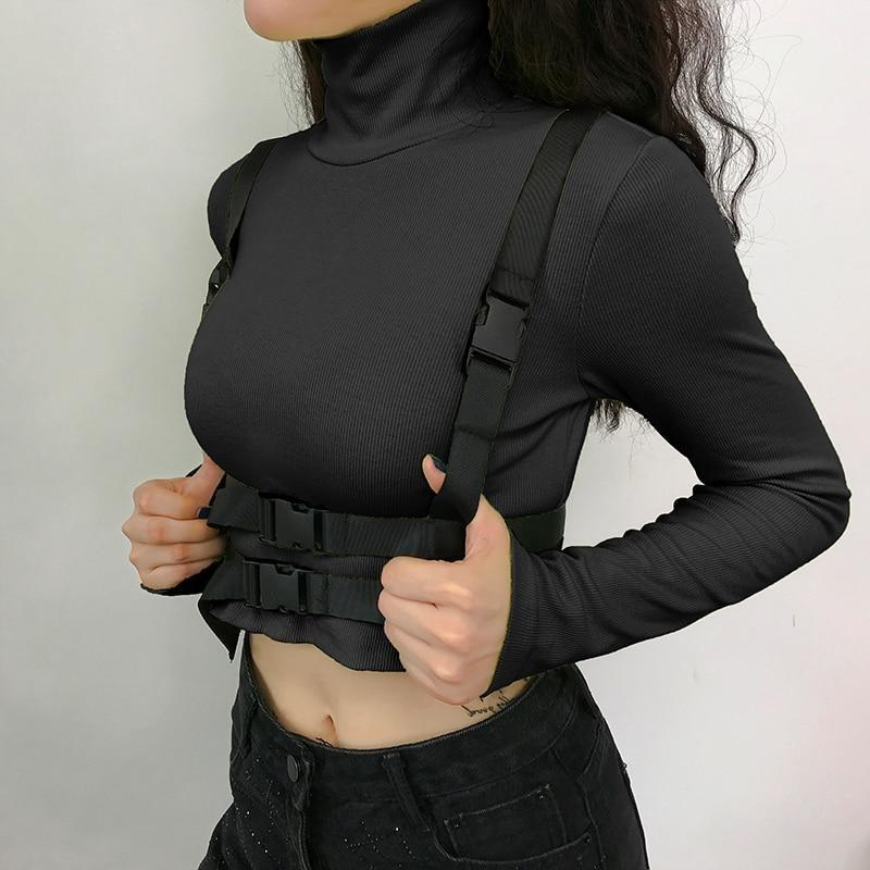 Cropped Turtleneck Top with Buckle Harness - nightcity clothing
