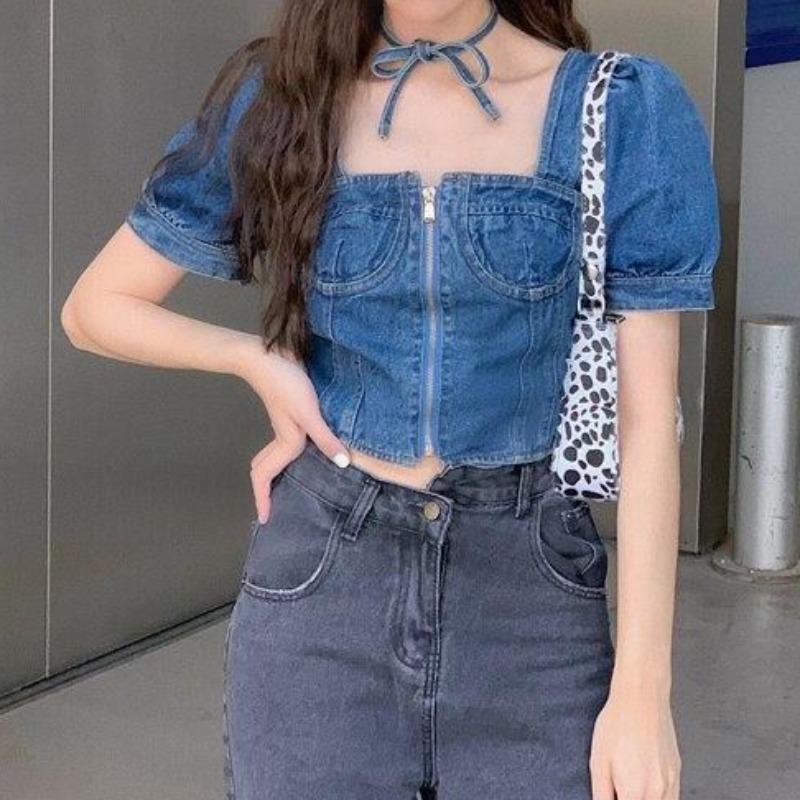 Denim Puff Short-Sleeve Zip Crop Top - nightcity clothing