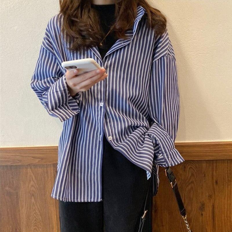 Drop Shoulder Striped Shirt - nightcity clothing