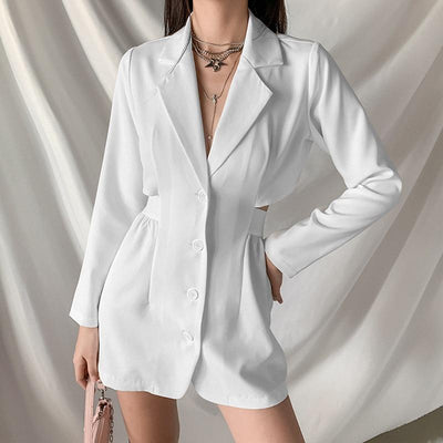 Hollow Out Mock Two-Piece Blazer Dress