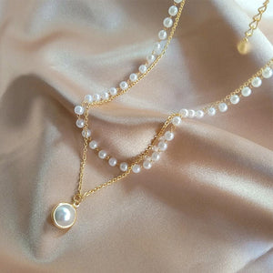 Faux Pearl Pendant and Beaded Necklace - nightcity clothing