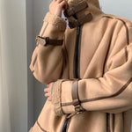 Faux Suede Shearling Jacket - nightcity clothing