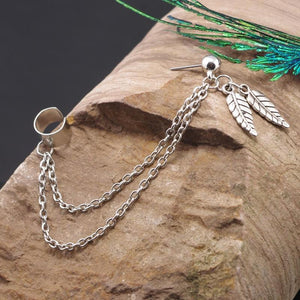 Feather Pendant Chain Stud Earring - nightcity clothing
