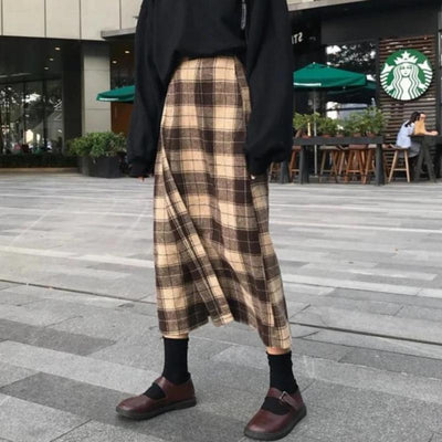 High-Waist Plaid Midi Skirt