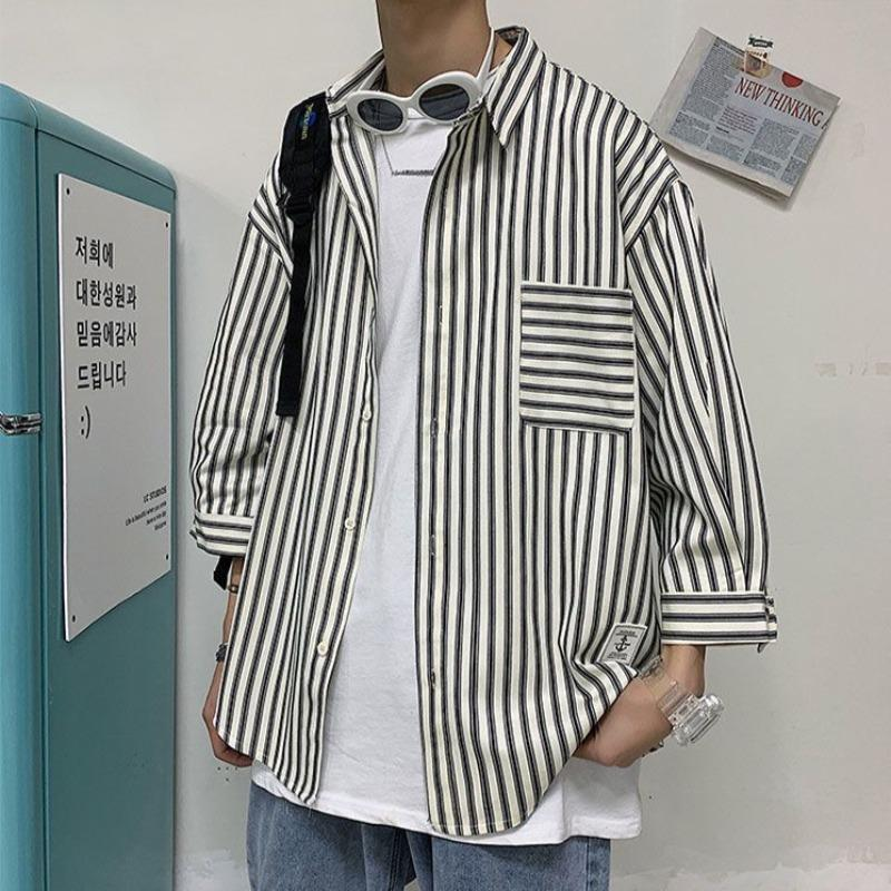Loose Striped Shirt with Three Quarter Sleeves - nightcity clothing