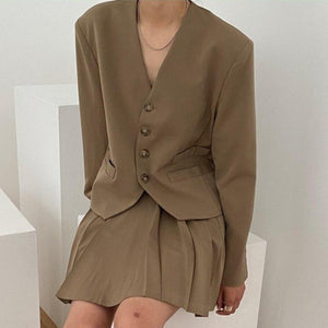 Mid-Crop Collarless Blazer and Pleated Skirt Two-Piece Set - nightcity clothing