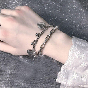 Multi-layer Chain Bracelet with Heart and Bead Pendants - nightcity clothing