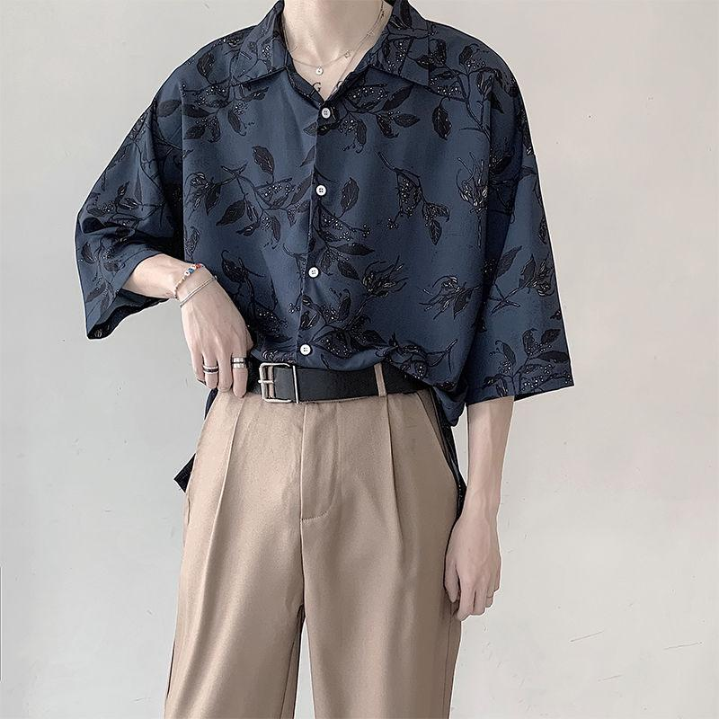 Oversized Floral Print Shirt with Three-Quarter Sleeves - nightcity clothing