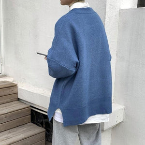 Oversized Knit Sweater with Split Hem - nightcity clothing