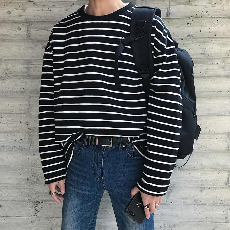 Oversized Long Sleeve Narrow Striped Tee - nightcity clothing
