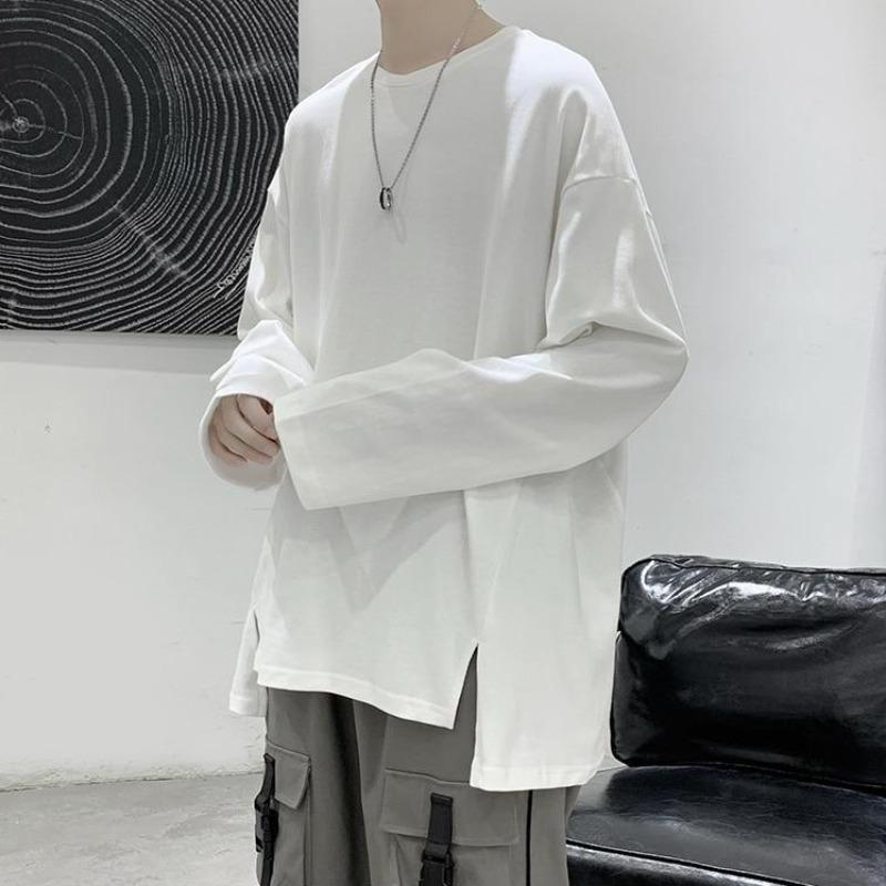 Oversized Long Sleeve Tee with Split Hem - nightcity clothing