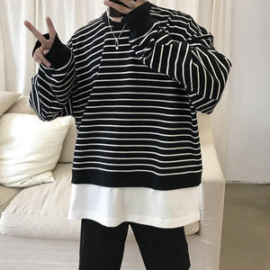 Oversized Mock Two Piece Cropped Striped Sweatshirt - nightcity clothing