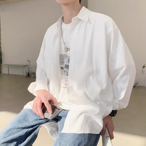 Oversized Monochrome Workers Shirt - nightcity clothing