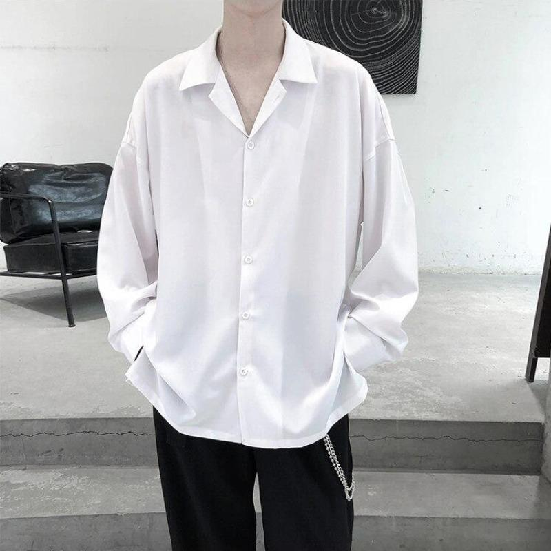 Oversized Open-Collar Shirt - nightcity clothing