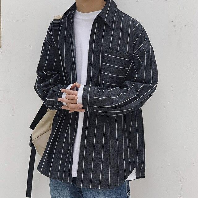 Oversized Pinstripe Shirt - nightcity clothing