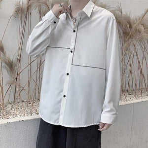 Oversized Print Shirt with Asymmetric Lines - nightcity clothing