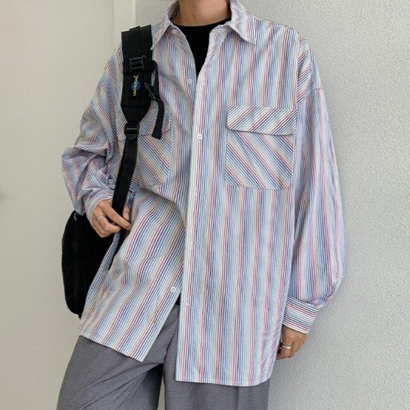 Oversized Rainbow Striped Shirt - nightcity clothing