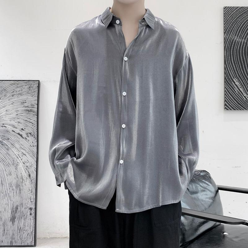 Oversized Reflective Silk Shirt - nightcity clothing