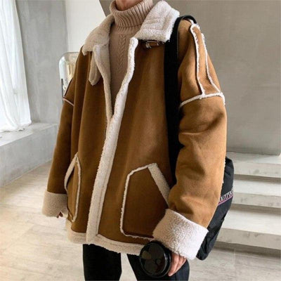Oversized Sherpa-Lined Faux Shearling Jacket