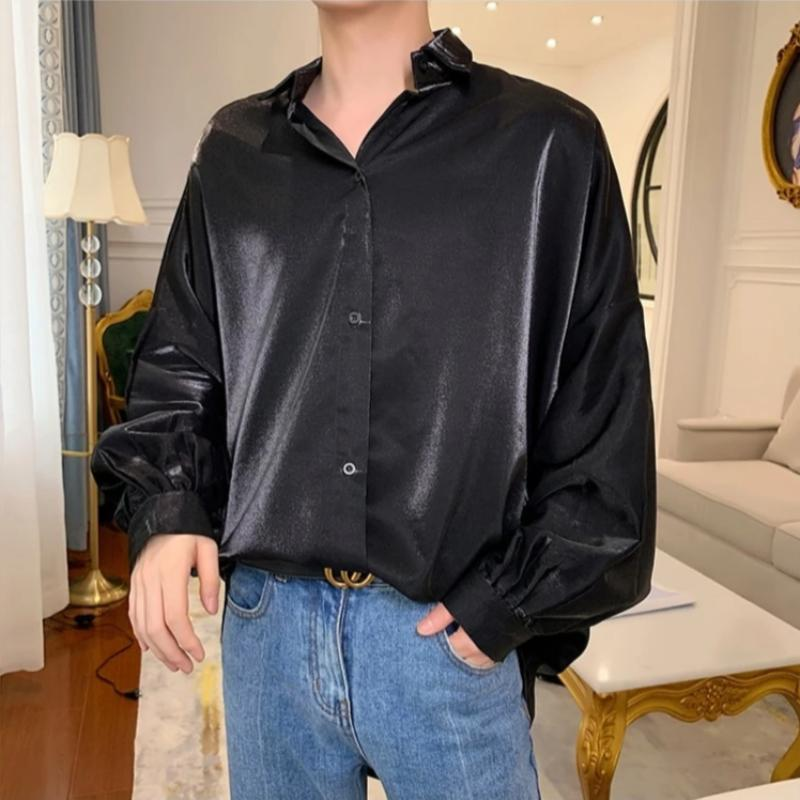Oversized Shiny Silk Shirt - nightcity clothing