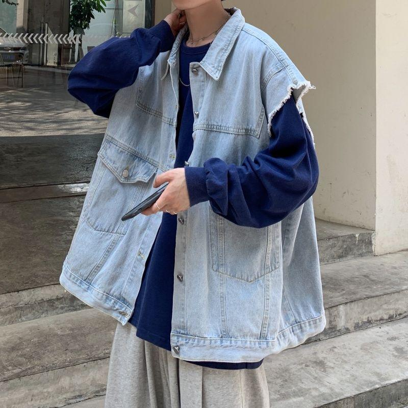 Oversized Sleeveless Denim Jacket with Distressed Hem - nightcity clothing