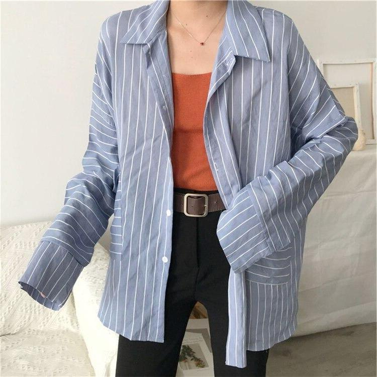 Oversized Striped Boyfriend Shirt - nightcity clothing