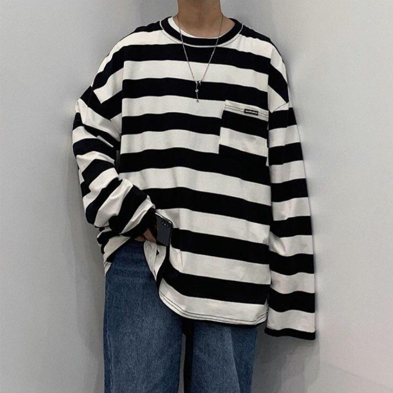 Oversized Striped Long Sleeve Tee - nightcity clothing