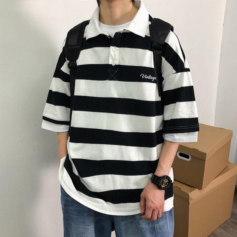 Oversized Striped Polo Short Sleeve Shirt - nightcity clothing