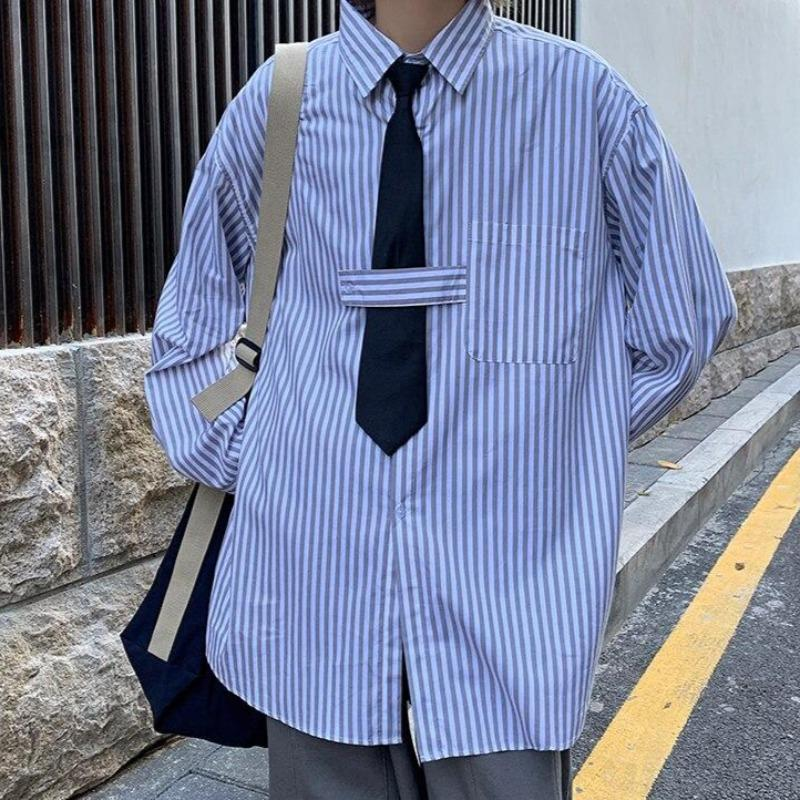 Oversized Striped Shirt with Tie Strap - nightcity clothing