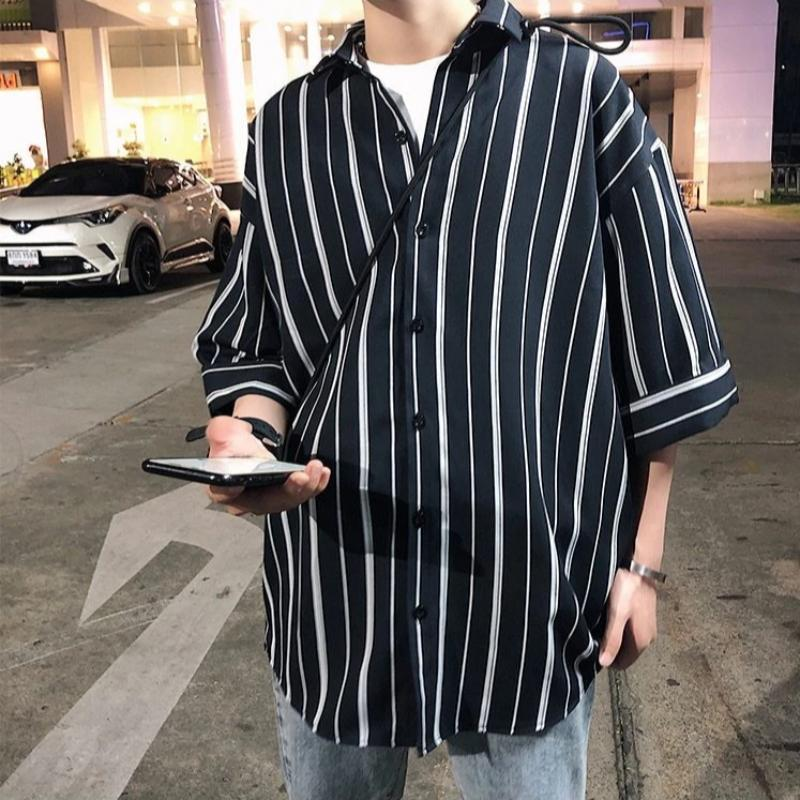 Oversized Striped Short Sleeve Shirt - nightcity clothing