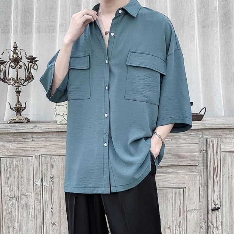 Oversized Three-Quarter Sleeve Worker Shirt - nightcity clothing
