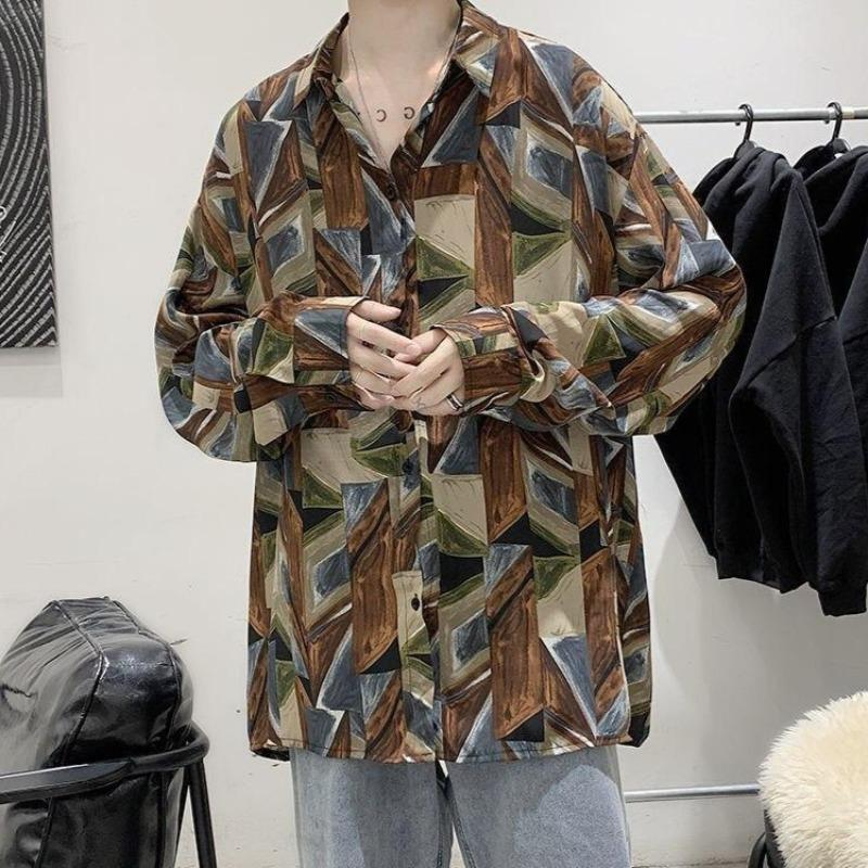 Oversized Vintage-Patterned Print Shirt - nightcity clothing