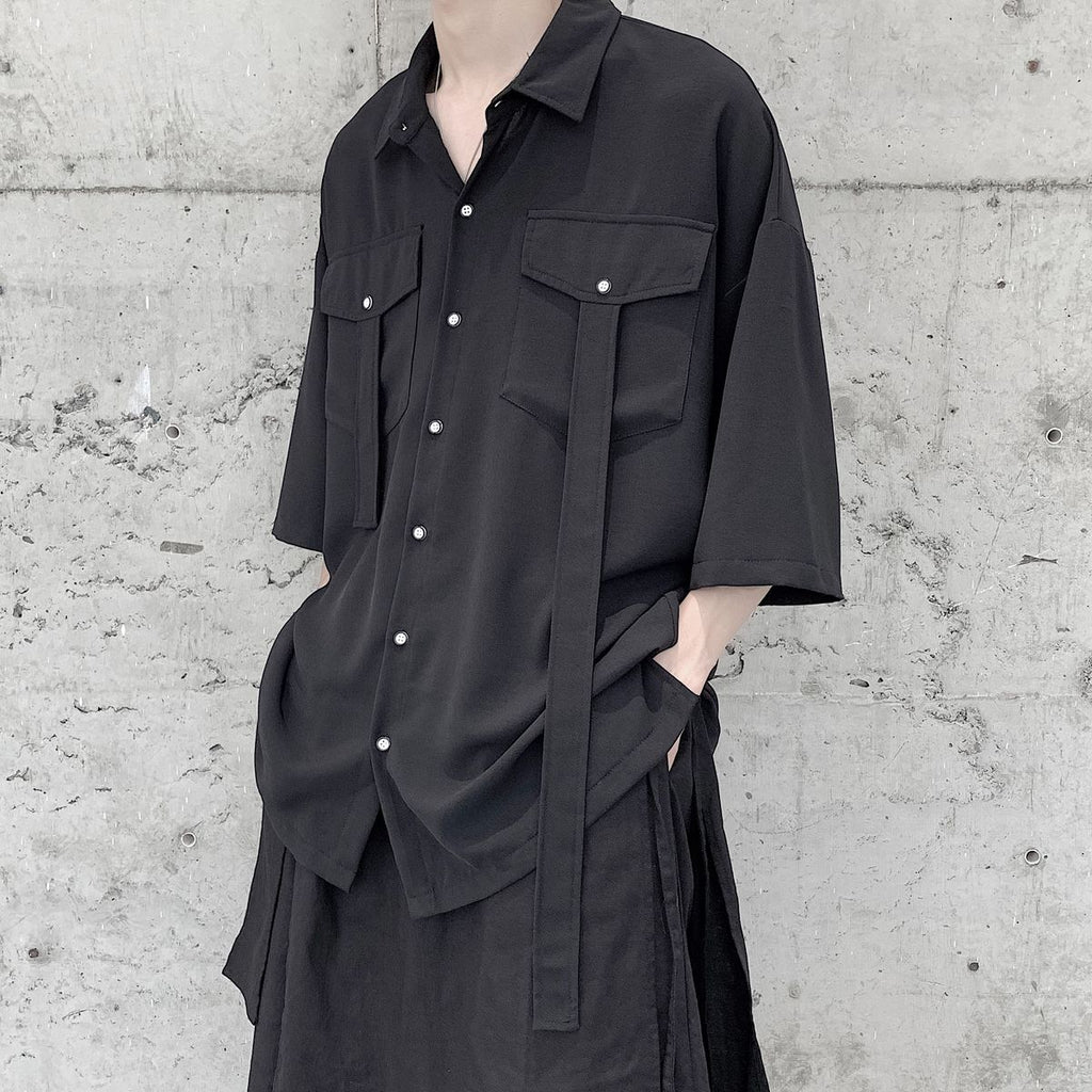 Oversized Worker Short Sleeve Shirt with Straps - nightcity clothing