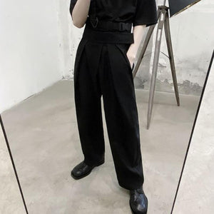 Pleated Wide Leg Suit Trousers - nightcity clothing